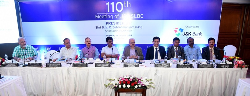 110TH MEETING OF J&K SLBC  HELD ON 29.08.2019